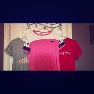 3 t-shirts from adidas, pink, and champion